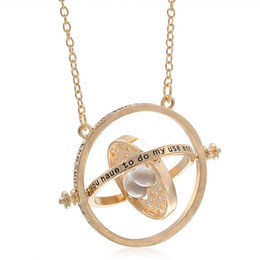 Wholesale Rotating Plate - Wholesale- 2016 Hot Selling Gold plated Harry necklace Potter time turner necklace Rotating Spins Hourglass Pendent Jewelry for unisex