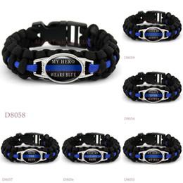 Wholesale Wholesale Survival Bracelet Charms - (10 PCS lot) BACK THE BLUE POLICE LIVES MATTER THIN BLUE LINE Paracord Survival Keep My Police Office Safe My Hero Dad Bracelets