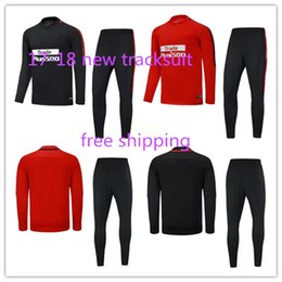 Wholesale New Suits - 2018 new Atletico soccer tracksuit madrid torres survetement chandal top quality 17 18 training suit football sweatershirt and pants