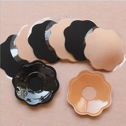 Wholesale Nipple Covers Silicone Round - 50pcs lot Hot New Womens Silicone Nipple Reusable Cover Patch Adhesive Strapless Bra Pad Breast Petal Round Flower Invisible Bra