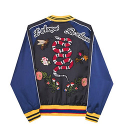 Wholesale Coats Flower Woman - 2017 winter G Grid Flower Snake Embroidery Baseball Loose Coat Men And Women With Fund Black Blue Colour Matching Jacket Male
