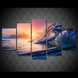 Wholesale Original Oil Painting Framed - 5 Pcs Set No Framed HD Printed ocean wave blue sea sky Painting Canvas Print room decor poster picture original oil paintings