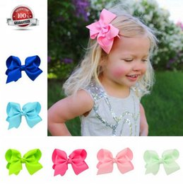 Wholesale Tie Clips For Girls - 20 Colors Baby Ties Boutique Grosgrain Ribbon Pinwheel Hair Bows Attached With Alligator Clips For Teens Girls Babies Toddlers Gifts acc005