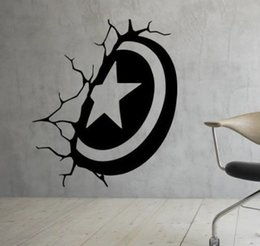 Wholesale America Wallpapers - Captain America shield broken wall vinyl decal home decor living room mural wallpaper removable wall stickers DIY