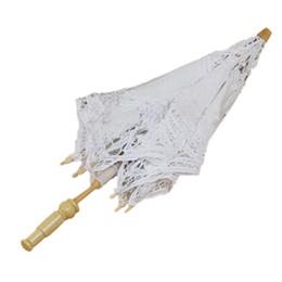 Guarda-sol de algodão on-line-Venda por atacado- 1X Algodão Branco Vintage Artesanal Parasol Lace Sun Umbrella Wedding Party Nupcial
