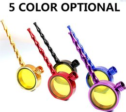 Wholesale Mini Magnified Glass - Mini magnifying Pipes glass type corrugated pipe filter cigarette holder detachable Metal smoking tobacco herb pipes grinder 5 colors