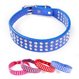 Wholesale Dog Collar Leather Diamond - 2017 Solid Color Pets Collars High Quality PU Leather Bright Diamond Dog Cat Use Cute Adjustable Free Shipping
