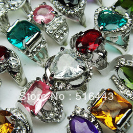 Wholesale Womens Ring Silver - A-111 Wholesale Jewelry Lots 20pcs Cubic Zircon Rhinestones Silver Plated Fashion Mix Style Womens Rings Free Shipping