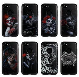 Wholesale Skull Iphone Hard Case - Sexy Lady Girl Skull Flower Hard Plastic+Soft TPU Hybrid Case For Iphone 7 Plus 6 6S 6Plus Silicone Rose Gel Black Cell Phone Skin Cover