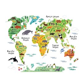 Wholesale Funny Countries - 60x90cm Cute Funny Animal Wall Stickers for Kids Rooms Living Room Home Decor World Map Wall Decor Mural Art H49