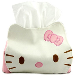 Wholesale Kitty Car Seat Covers - Wholesale- Cute PU Leather Hello Kitty Tissue Holder Household Car Application Removable Tissue Box Cover Container Napkin Paper Towel Box