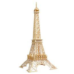Wholesale Eiffel Tower Toy - MICHLEY 1pc 3D Wooden Construction Jigsw Puzzle Kid Educational Woodcraft DIY Kit Toy Simulation Models Eiffel Tower 1T0044-muzhitieta