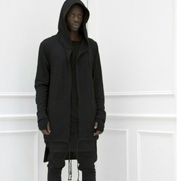 Wholesale Couple Outfit Clothing - Wholesale- bigbang clothes hip hop mens jackets and coats couple outfits black white extended long hoodie mens hooded cloak