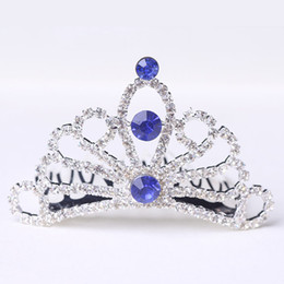 Wholesale Cheap Birthday Crowns - Crystals Flower Girls Tiaras 2017 Blue Red Silver Baby Crowns 6.5*3.7cm Bling Bling Kids Combs for Birthday Party & Weddings Cheap