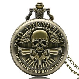Wholesale Stainless Chain Usa - Wholesale-Vine Retro 2nd Amendment USA Theme Skull Design Pocket Watch Necklace Chain Fob Watch Fashion Jewelry