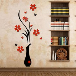 Wholesale Wholesale Wall Vases - Plum Blossom 3D Flower Wall Stickers Removable Wall Decals Round Vase Stereo Decorative Wall Stickers Chiness Style Easily Removed