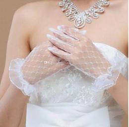 Wholesale White Illusion Glove - 2017 Romantic Lace Short Bridal Gloves Wrist Length Tulle White Ivory Short Wedding Gloves Illusion Net Wedding Gloves Bridal Accessories
