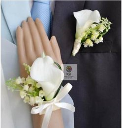 Wholesale Silk Flowers Calla Lilies - The bride bridegroom multicolor Calla lily flower corsage brooches the maid of honor wrist flowers