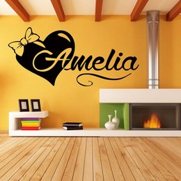 Wholesale Name Wall Art - Personalized Custom Name Love Heart Girls Bedroom Funny Wall Stickers Drawing Room Decals Vinyl Decor Diy