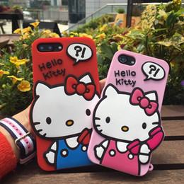 Wholesale Iphone Silicon Cat Cases - 3D hello kitty Cute Cartoon Silicon cover for Iphone 6 6s plus 7 7plus mobile phone case Kitty cat for iphone 7 7plus