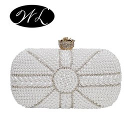 Wholesale Ivory Wedding Hand Bags - 2016 woman bag new fashion evening bags two-sided Pearl party wedding bride purse Oblique across hand bags