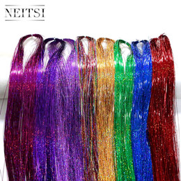 Wholesale Glitter Extensions - Wholsale Neitsi 8Colors Mixed 35'' 1280strands pack Straight Tinsel Hair Sparkle Glitter Twinkle Hair Accessories for Women Party Cosplay