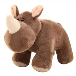Wholesale Hippo Stuff - 25cm Simulation Soft Plush Rhino Hippo Toy Stuffed Doll Toys Hippos Wild Animals Children Kids Baby Student Special Gift Triver