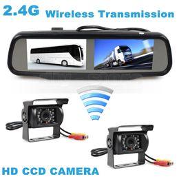 Wholesale Truck Rear View Camera Wireless - Wireless Dual 4.3 inch Screen Rearview Car Mirror Monitor + 2 x CCD Waterproof Car Rear View Reverse Backup Car Truck Bus Camera