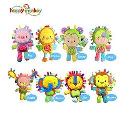Wholesale Styles Baby Doll - Wholesale- Happy Monkey 8 Styles Baby Cheerful Rocking With Bibi Sound Soft Gentle Rattle Plush Toy Cute Animals 0M+ Dolls