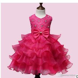 Robes de baptême gratuitement en Ligne-Eur et US Girl dentelle fleur robe d'été enfants robe sans manches princesse perles mariage baptême livraison gratuite