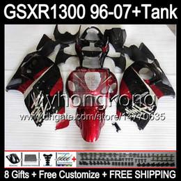 kit de carreras gsxr Rebajas 8gift para SUZUKI Hayabusa GSXR1300 96 97 98 99 00 01 13MY152 rojo brillante GSXR 1300 GSX-R1300 GSX R1300 02 03 04 05 06 07 Carenado rojo negro