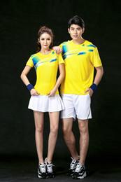 Wholesale Army Uniform T Shirts - 2017 Badminton Shirt Men Women Couple Sports Quick Dry Breathable Clothes Table Tennis Uniforms Shirt+Shorts 1 Set Team Training Yellow T-Sh