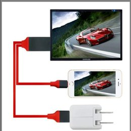 Wholesale Hdmi Cable Adapter Ipad - For iphone 5 5c 5s 6 6plus 6s 6s plus 7 7plus All the ipad and ipad mini series HDMI Cable 1080P HDTV Adapter 2M iphone HDMI Cable 20pcs lot
