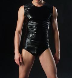 Wholesale Men Bodysuit Leather - Wholesale- Men Bodysuit Undershirt Sportwear Black Sexy Man Lingerie Top Fashion Imitation Leather Vest Not Include The Boxer
