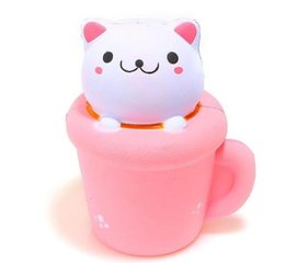 Wholesale Elastic Phone Strap - 14X12cm Soft Jumbo Squishy Cup Cat Slow Rising Phone Strap Elastic PU Simulation Paper Cup Cat Squeeze Toy Kids Toy Random Color
