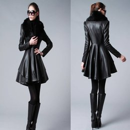 Wholesale Ladies Leather Jacket Large - Women Faux Leath Coat Fua Raccoon Fur Jacket 2015 Winter Warm Ladies Fashion Long Leather Jacket with Cotton Filling Plus Large