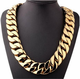 Wholesale Curb Link Mens Gold Necklace - 31mm Super Heavy Thick 316L Stainless Steel Mens Gold Chain Tone Flat Round Curb cuban Necklace Wholesale Jewelry