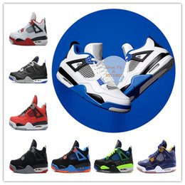 Wholesale Thunder 4s - Free Shipping 4 4s Basketball Shoes Men 4S Motosports BlueCAVS Fire red Thunder Royalty Bred Sports Sneakers