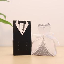 Wholesale Gown Bridal Dress Box - Wholesale-New 100Pcs Bridal Gift Bag Cases Groom Tuxedo Dress Gown Ribbon Wedding Favor Candy Box