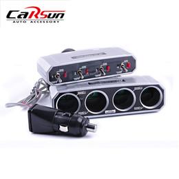 Wholesale 12v Splitter - Wholesale- 12V 24V 5A Output 4Ways Car Socket Power Splitter With 4 Individual SWITCH 1 To 4 Car Cigarette Lighter Power Adapter
