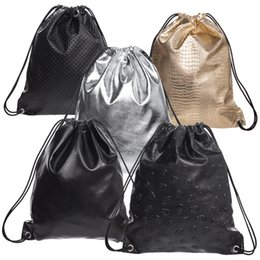 Wholesale Drawstring Bag Trend - Wholesale- 2016 New Trends Leather Drawstring Bags Women Backpacks Soft Functional Stylish fashion Men Unisex Travelling Bags School Bags