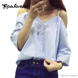 Wholesale Sexy Korean Lady Blouse - Off Shoulder Blouse Shirt Women Summer Sexy Fashion Korean Style 2017 Sweet Slash Neck Tops Stripe Sexy Shirts Ladies Clothing
