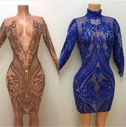 Wholesale Mini Evening Gowns - 2017 Sexy Short Sheath Prom Dresses with Plunging V Neck Long Sleeves Illusion Sequined Lace Cheap Mini Bling Party Evening Gowns