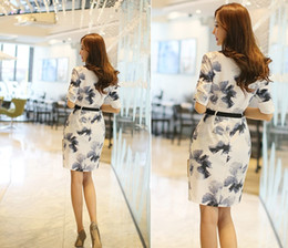 Wholesale Linen Summer Work Clothes - Spring and summer lady OL Commuter Dress Ink painting Sashes Casual Dresses temperament Thin waist V-neck Women Clothing