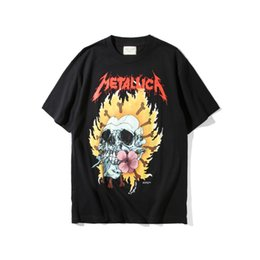 Wholesale Metallica Tee - Mens Vintage Rock T shirt Fear Of God Heavy Metal Black FOG T-shirts Rock Music Metallica Print Fashion Unisex Tees For Man 001