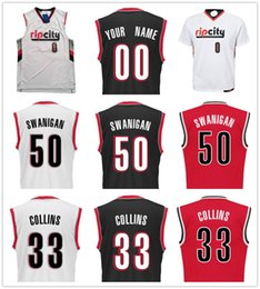 Wholesale Dry Printing - 2017 Draft Picks 50 Caleb Swanigan Jersey Printed Red Black White 33 Zach Collins Jusuf Nurkic Noah Vonleh Moe Harkless Basketball Jerseys