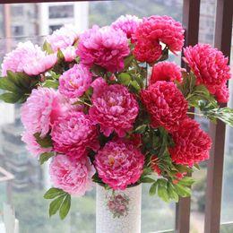 Wholesale Artificial Flower Bouquet Large - Large Silk flower 5 head peony flower bouquet artificial flowers fake flower home decoration