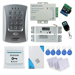 Wholesale rfid door lock kit - Wholesale- Nice!! Full Electronic Drop Bolt lock system kit set with RFID access control keypad+door bell+power supply+remote button