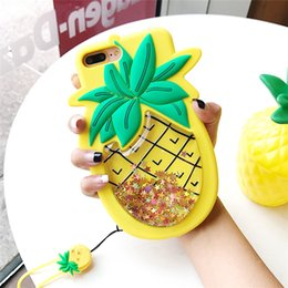 Wholesale Silicone Strap For Iphone - Stress Relief Glitter Liquid Quicksand Pineapple Case for iPhone 7 6 6s Plus Silicone Strap Rubber Phone Bag Cover for iPhone 7 Plus