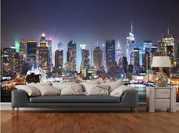 Wholesale Chinese Traditional Style - Custom photo wallpaper,New York,Manhattan Skyline at Night.Modern 3D murals for living room bedroom kitchen wall PVC wallpaper.